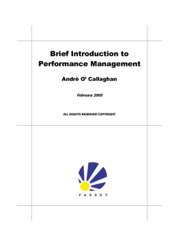 LECTURE: PERFORMANCE MANAGEMENT