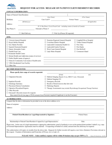 Request Form for the Release of Patient Records