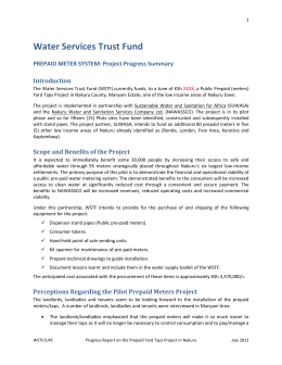 Project Achievements - Water Services Trust Fund