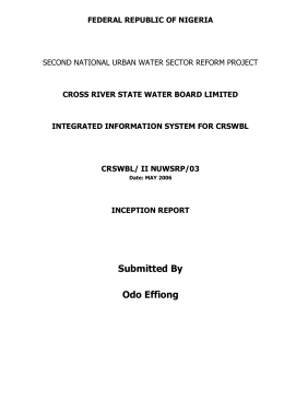 Report - Cross River State Water Board
