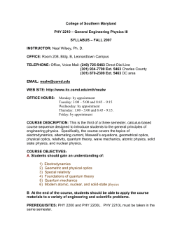 College of Southern Maryland PHY 2210 – General Engineering