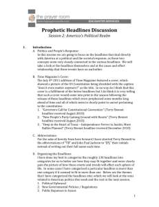 Prophetic Headlines Discussion Session 2: America's Political