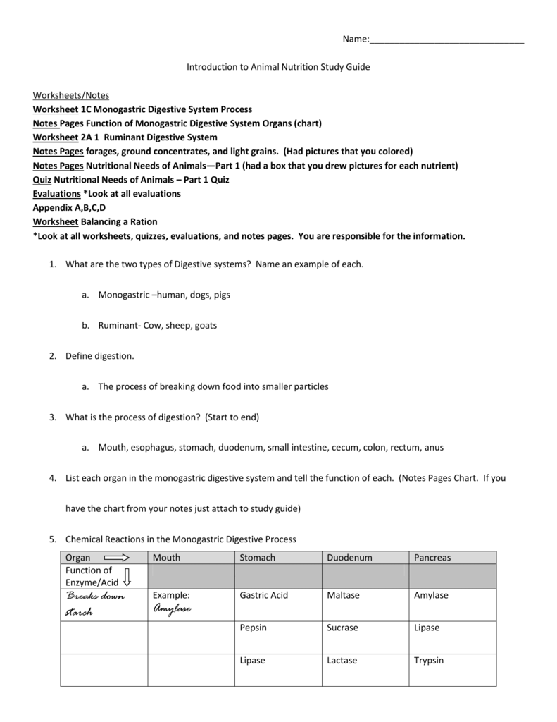 Animal Nutrition Study Guide answers