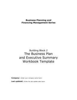 The business plan and executive summary workbook template