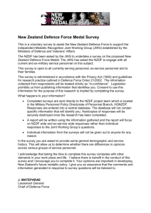 1 New Zealand Defence Force Medal Survey This is a voluntary