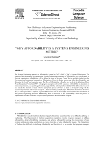 systems engineering paper Why Affordability Is A Systems