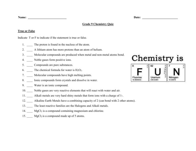 Grade 9 Chemistry Quiz
