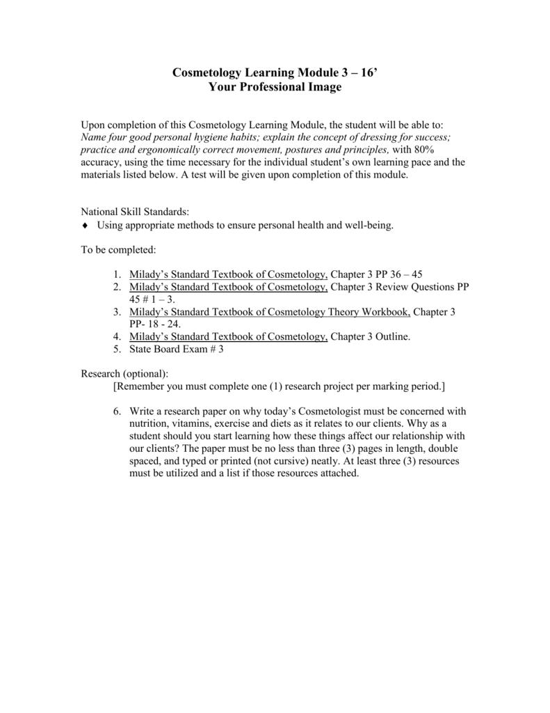 Cosmetology Learning Module 3