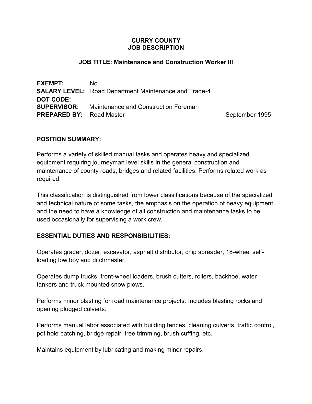 Road Maintenance and Construction Worker III on job cv, job description, job vacancies, job people, job recommendation form, job experience, job career opportunities, job position template, job porfolio, job portfolio, job design, job training, job network, job offer letter, job works, job review, job duties, job career objective, job employment, job responsibilities template,