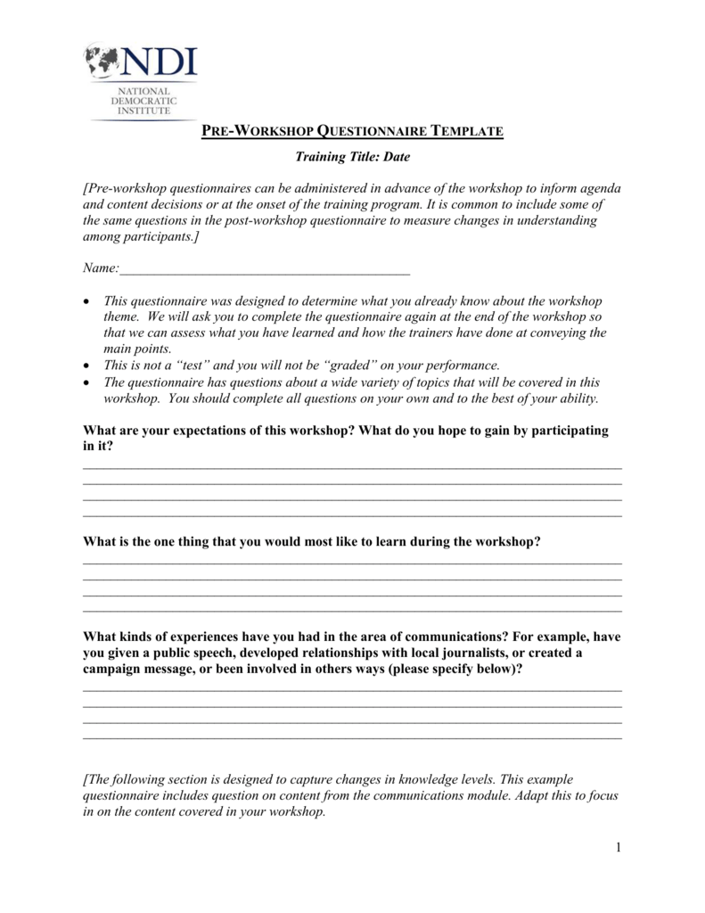 pre workshop questionnaire template