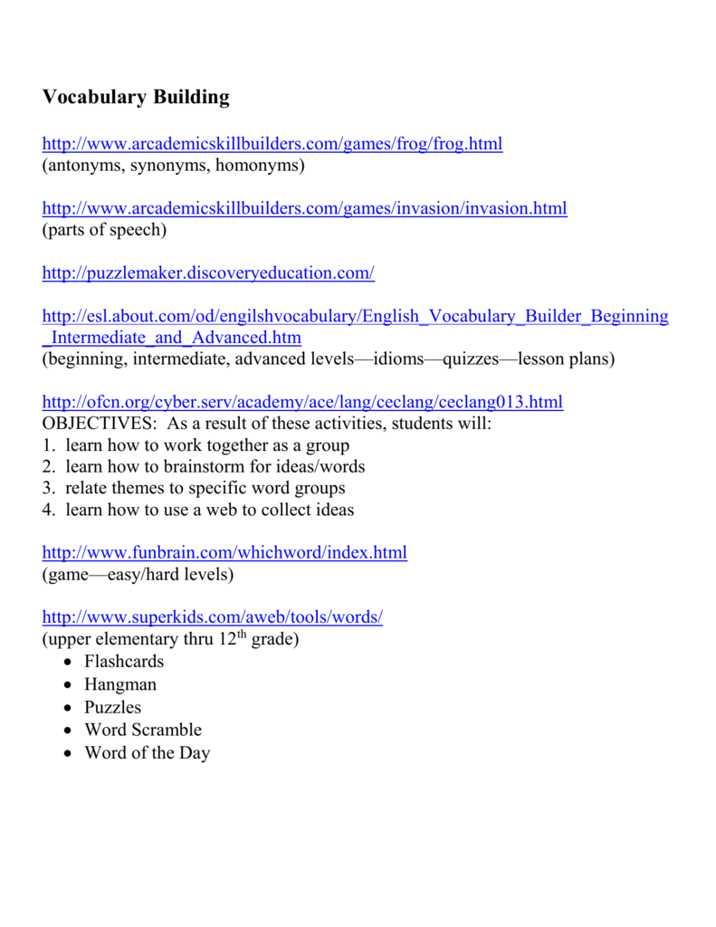 4teachers orgws vocabulary building