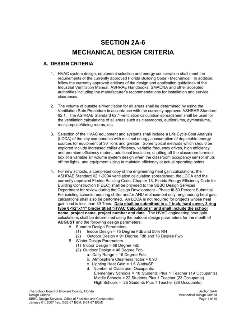 mechanical design criteria - Broward County Public Schools
