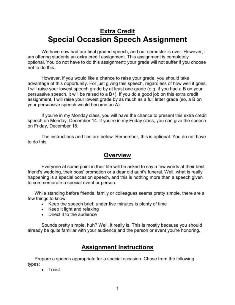 Informative Speech Assignment