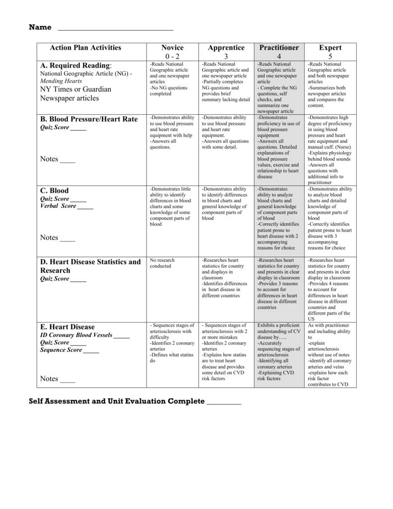 Action Plan Activities Rubric