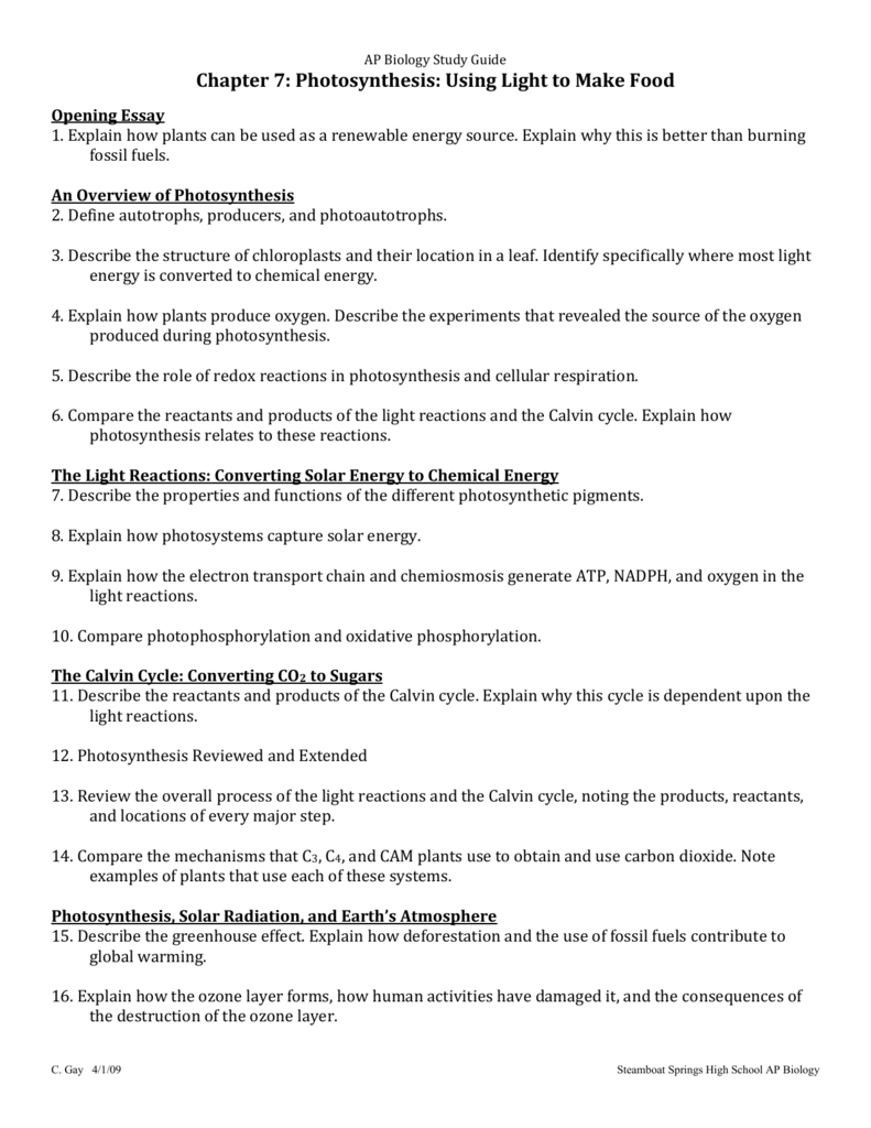 ap biology study guide ap biology study guide chapter  photosynthesis using light to make food  opening essay  explain how plants can be used as a renewable energy  source