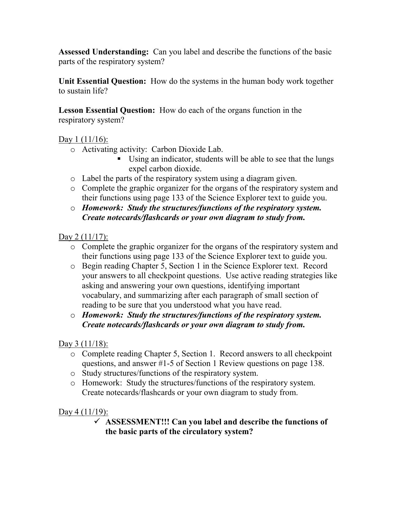 Respiratory System Lesson Agenda