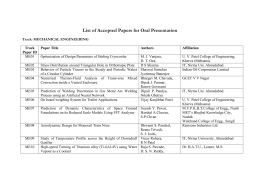 First List of Accepted Papers for Oral Presentation