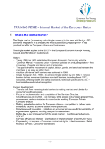 Training fiche on the Internal Market
