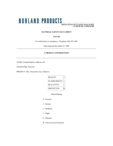 MATERIAL SAFETY DATA SHEET NOA 68 For information or
