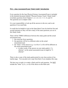 "PHYSICAL SCIENCE – January Assessment/Exam ""Study Guide"