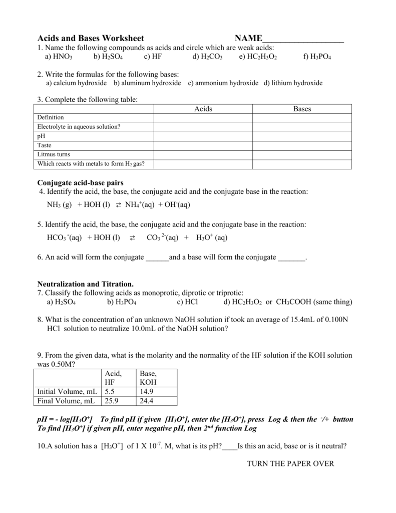 Acids and Bases Worksheet NAME – Conjugate Acid Base Pairs Worksheet