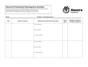 Professional Development Activities (60 Hours over three years)