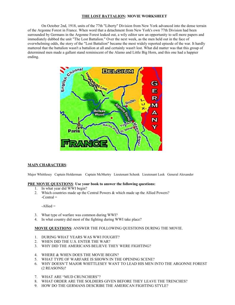 Lost Battalion Worksheet