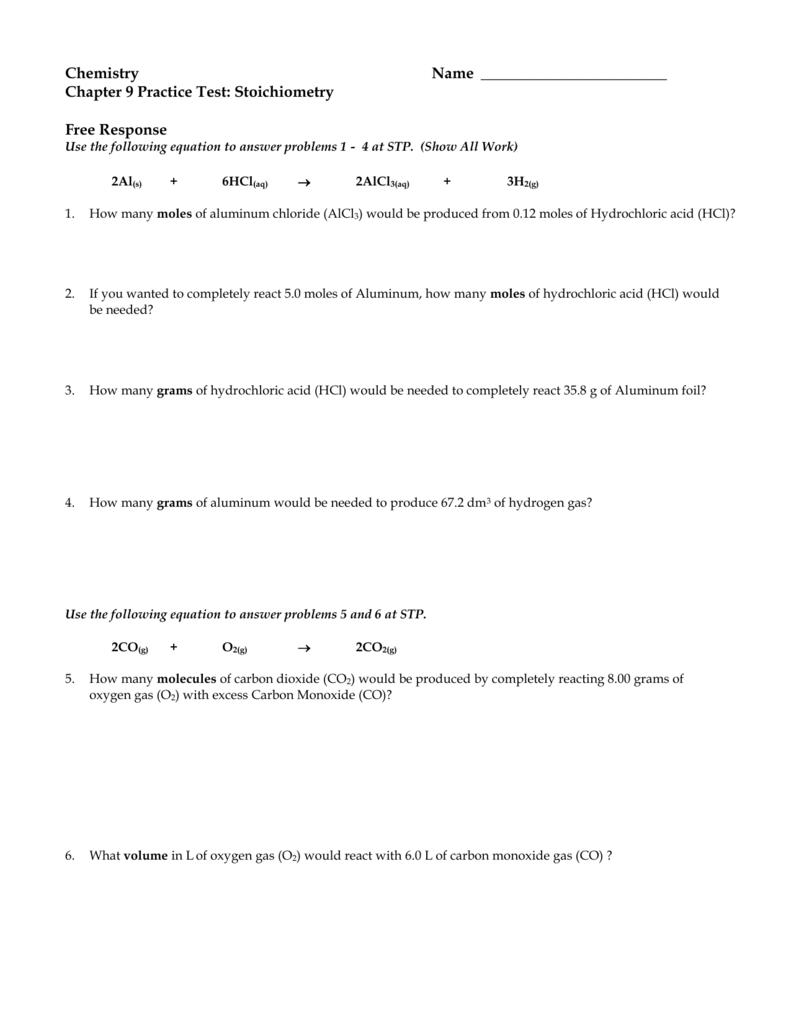 Practice Test (Ch  09 Stoichiometry)