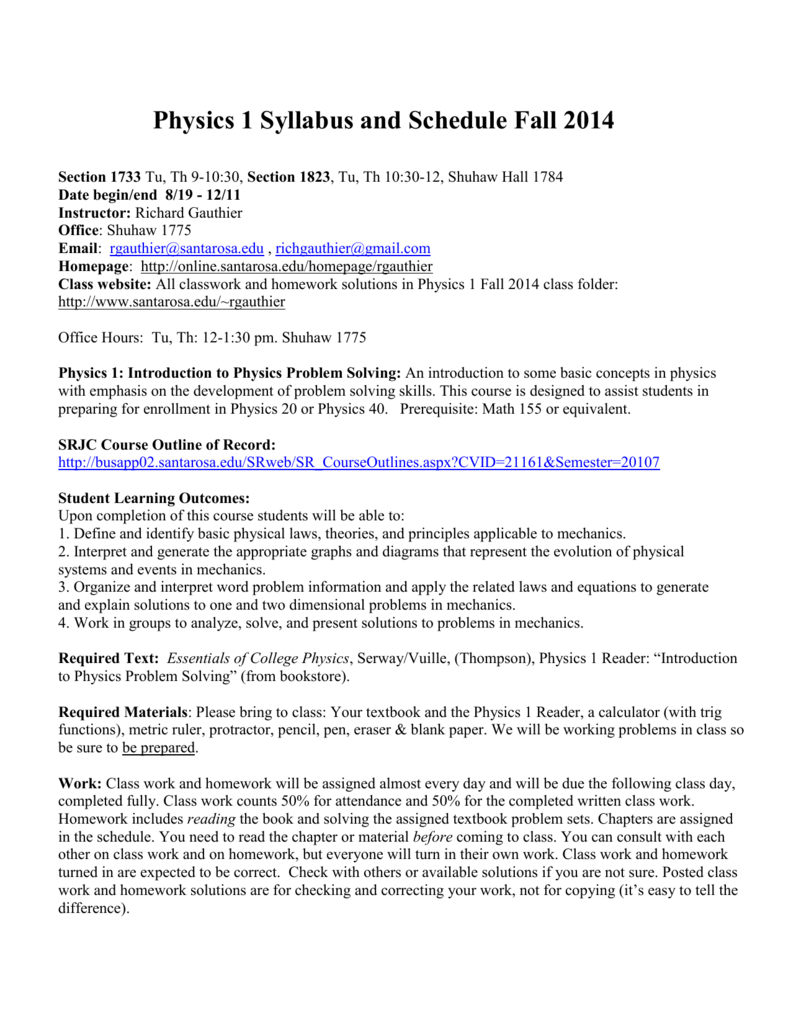 physics syllabus a santa rosa junior college