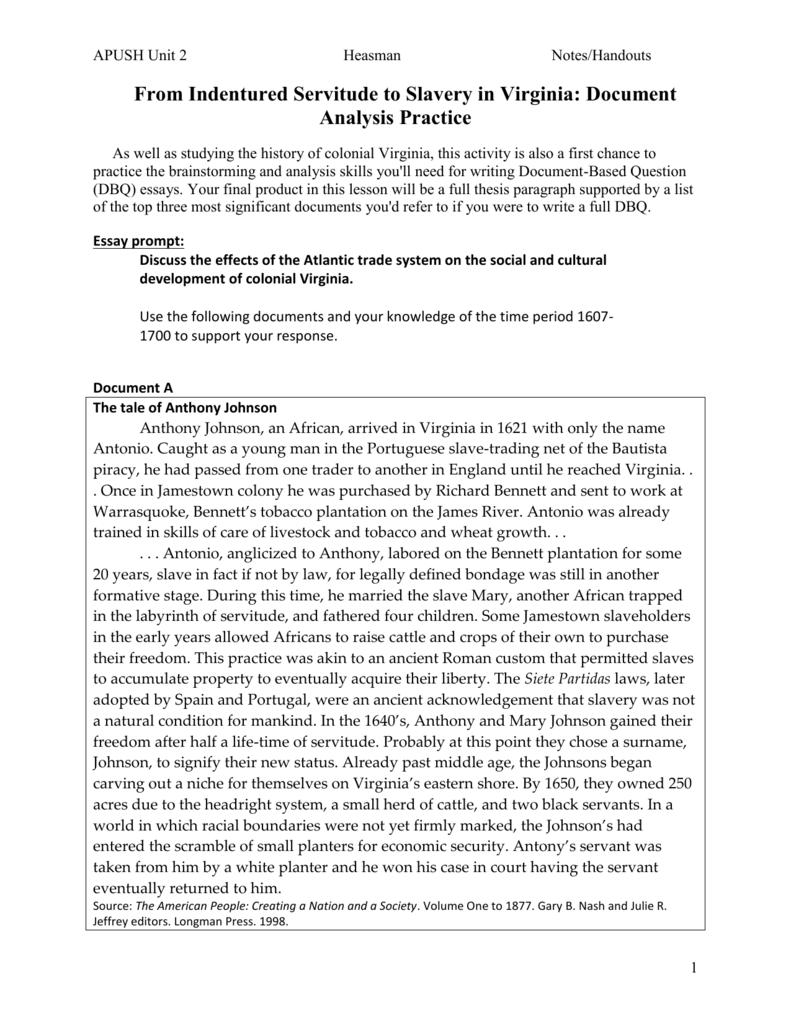 dbq essay on indentured servitude