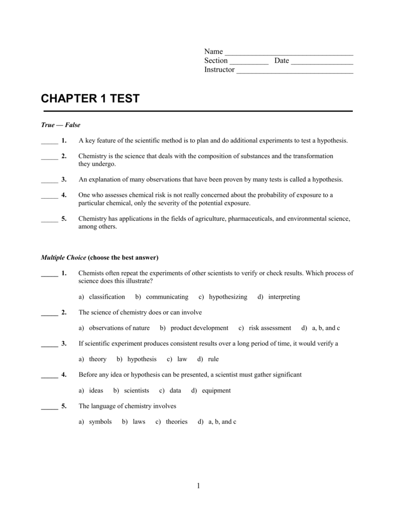 Chapter 1 Test - Mr. Berger's Science Class