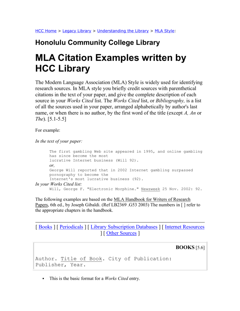 MLA Citation Examples written by HCC Library
