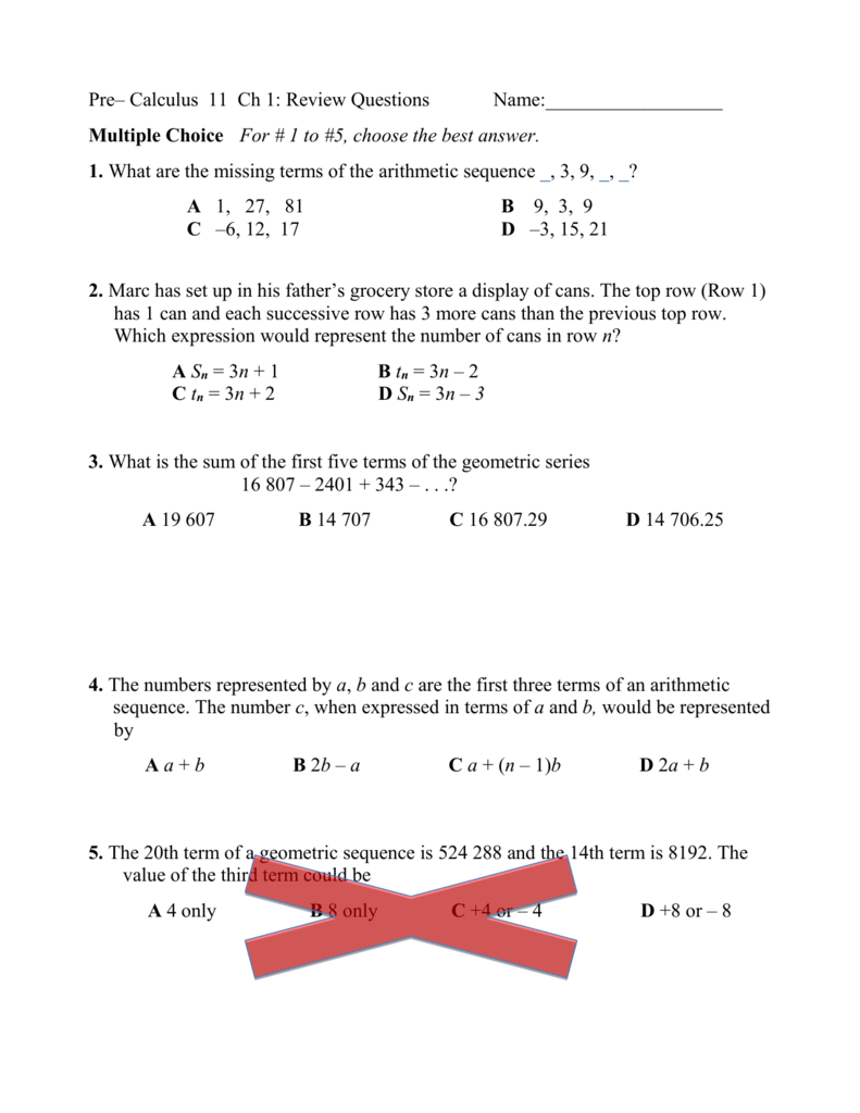 Pre– Calculus 11 Ch 1: Practice Test Name: