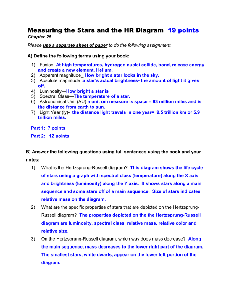 WorkSheet - MeasuringStars_HRDiag KEY