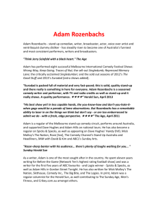 Adam Rozenbachs - stand up comedian, writer, broadcaster and