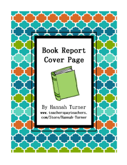 Book Report Cover Page