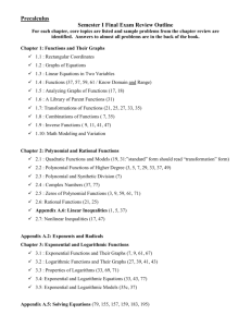 Precalc II Semester I Exam Review Outline