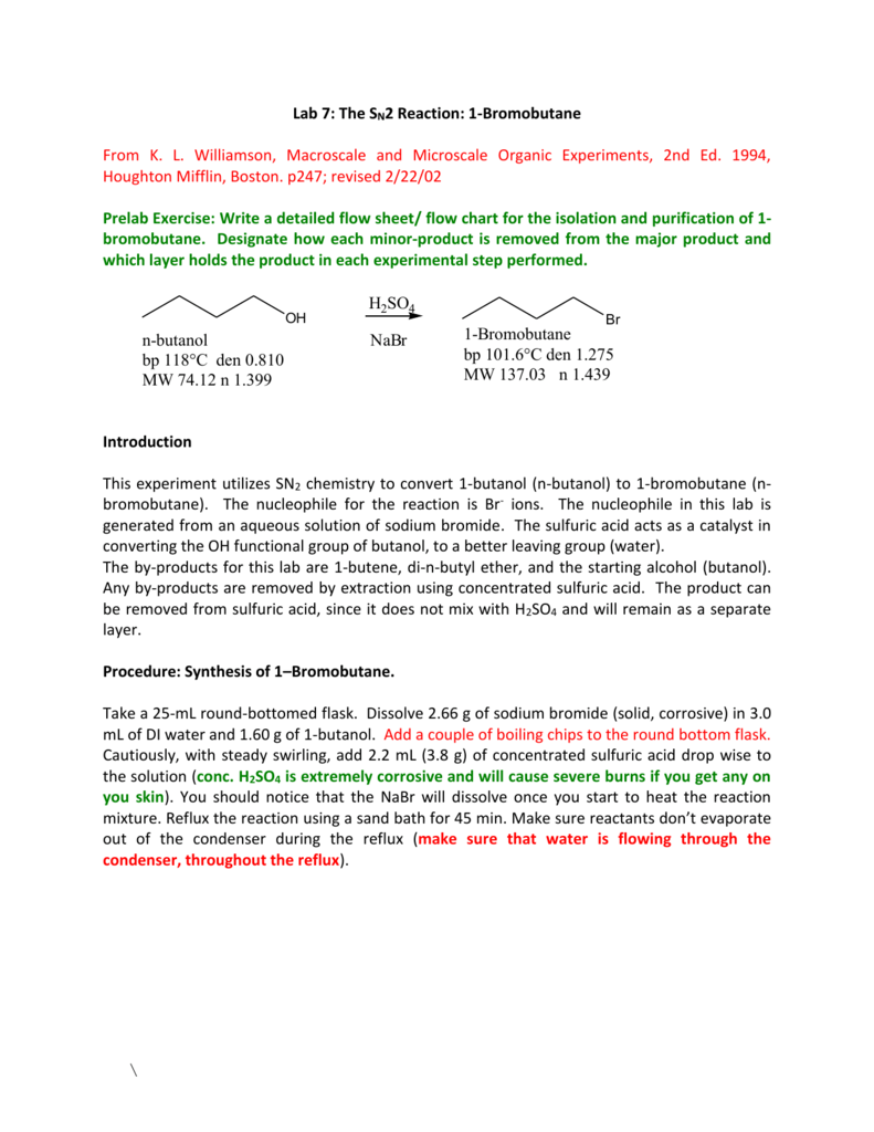 sn2 reaction 1 bromobutane Nucleophilic substitution (s n 1 s n 2) nucleophilic substitution is the reaction of an electron pair donor (the nucleophile, nu) with an.