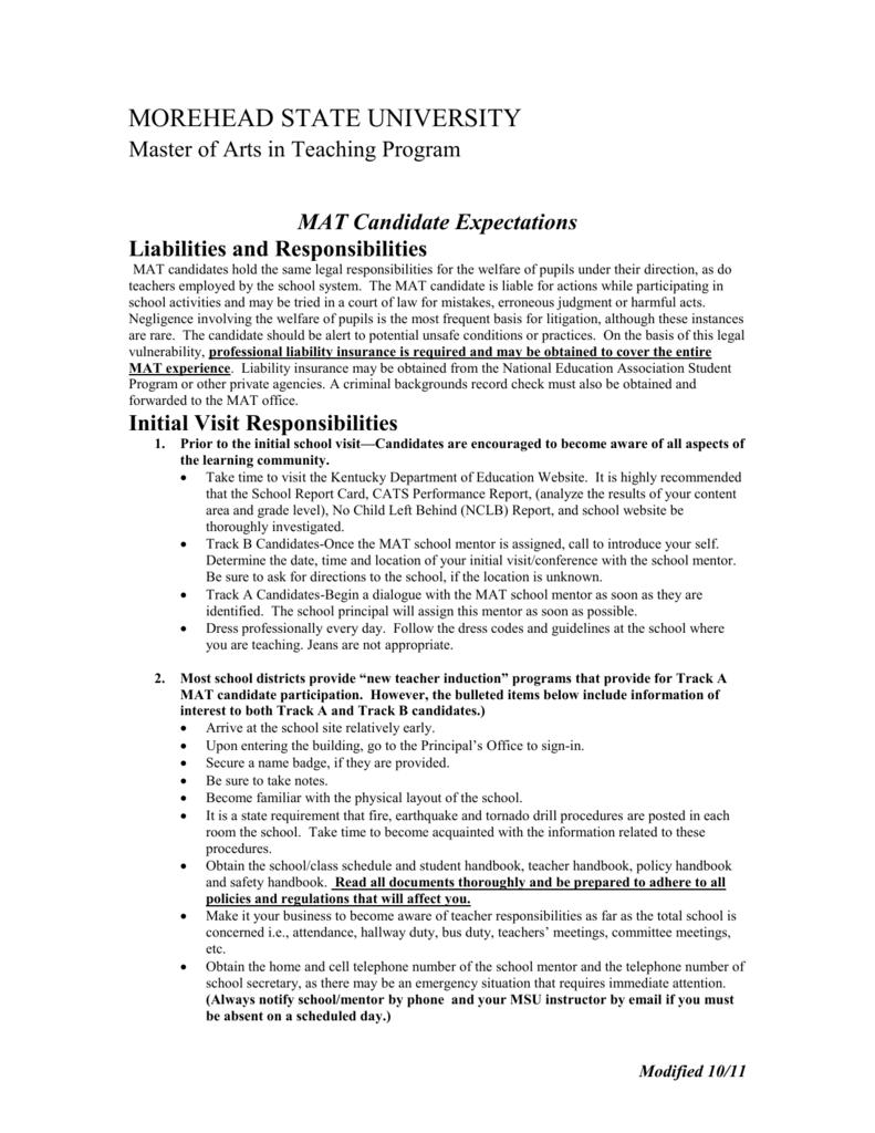 mat candidate expectations morehead state university rh studylib net