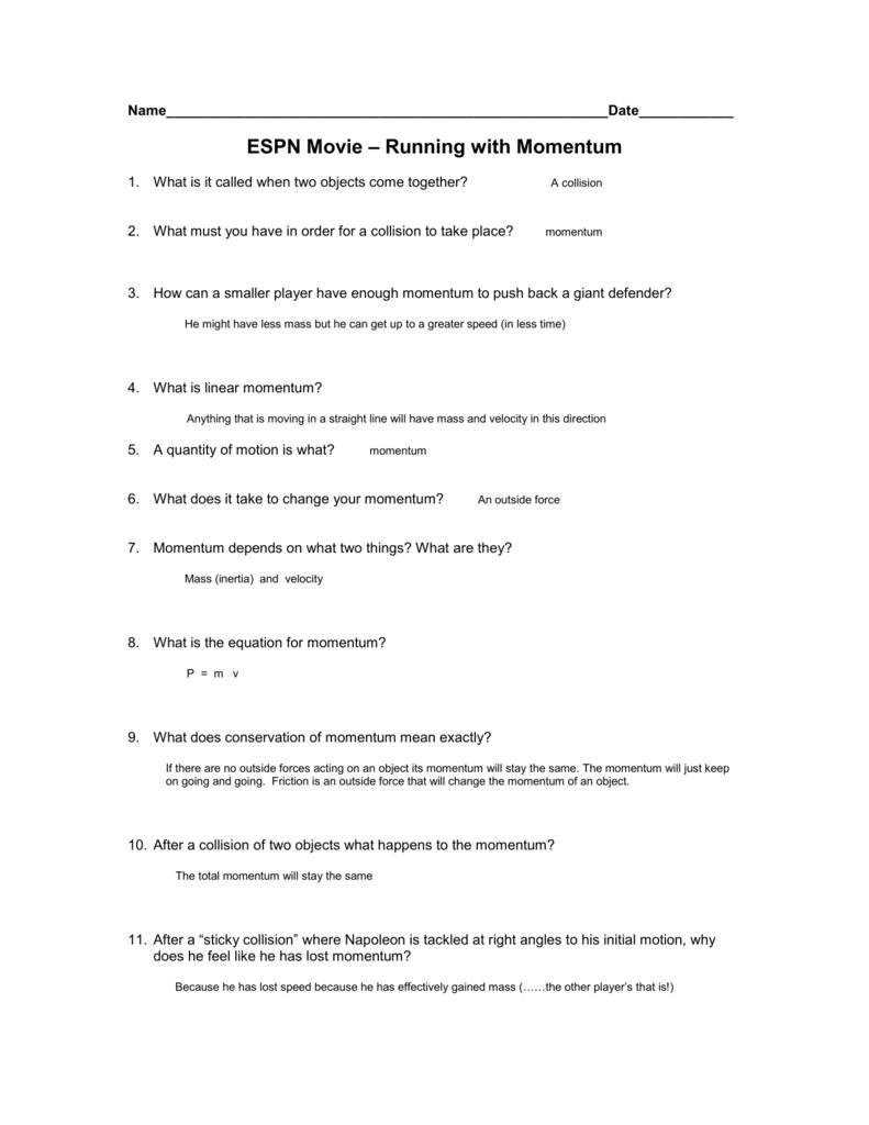 Worksheets Momentum Worksheet Answer Key espn movie running with momentum