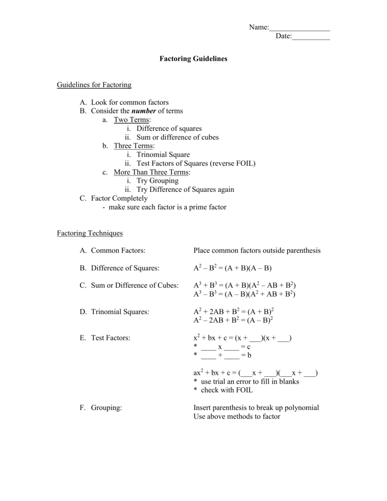 worksheet Factoring Completely Worksheet factoring worksheet