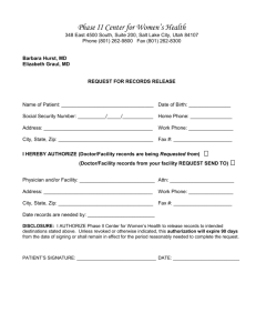 records request - Phase II Women's Center