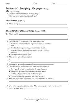Prentice hall Biology Worksheets