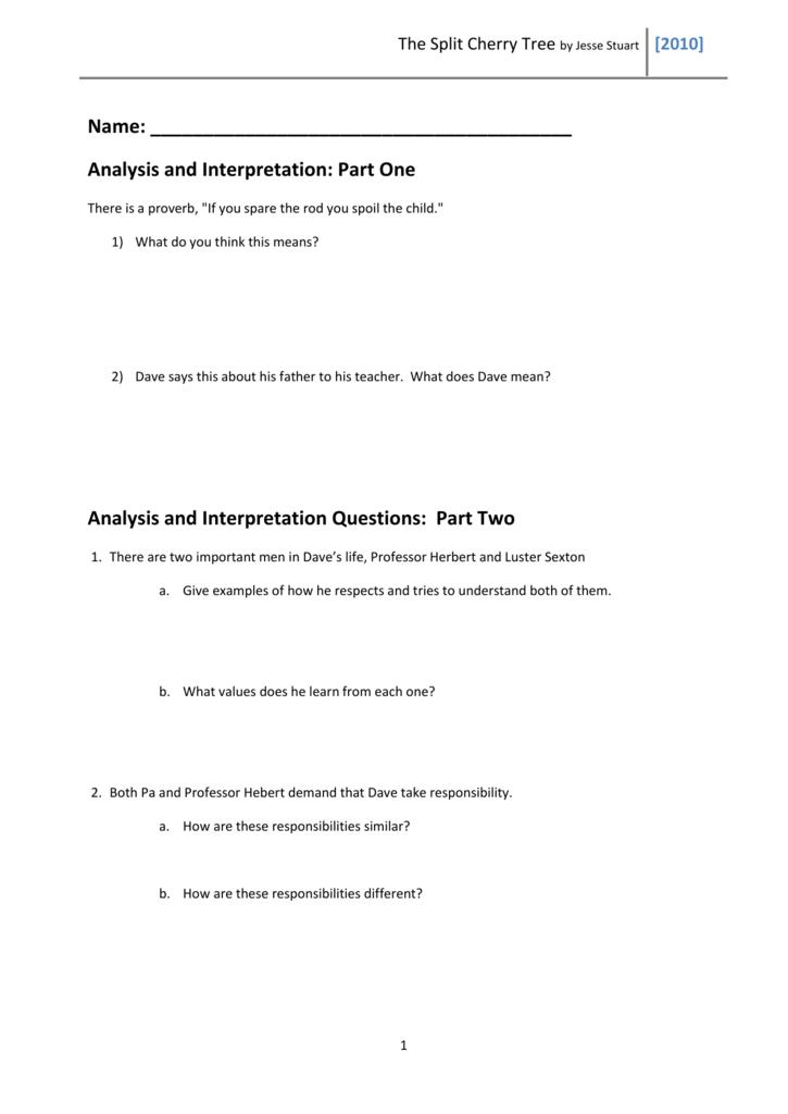Literary analysis on split cherry tree free online english homework help chat