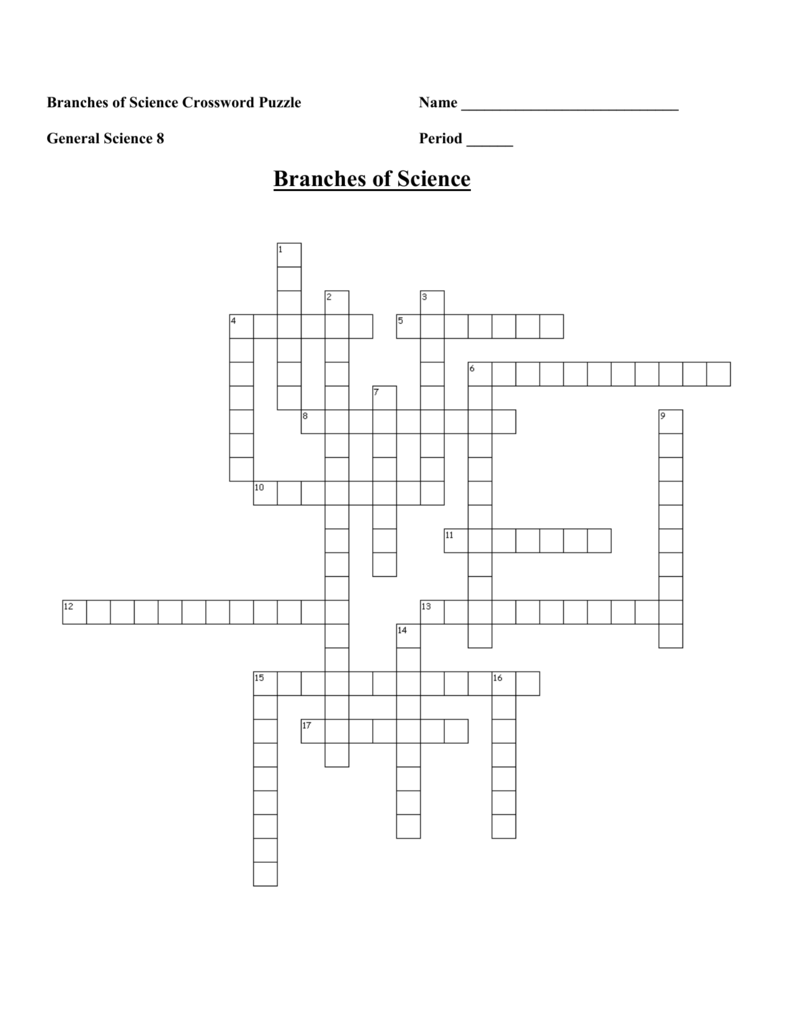 It is a photo of Science Crossword Puzzle Printable in free printable