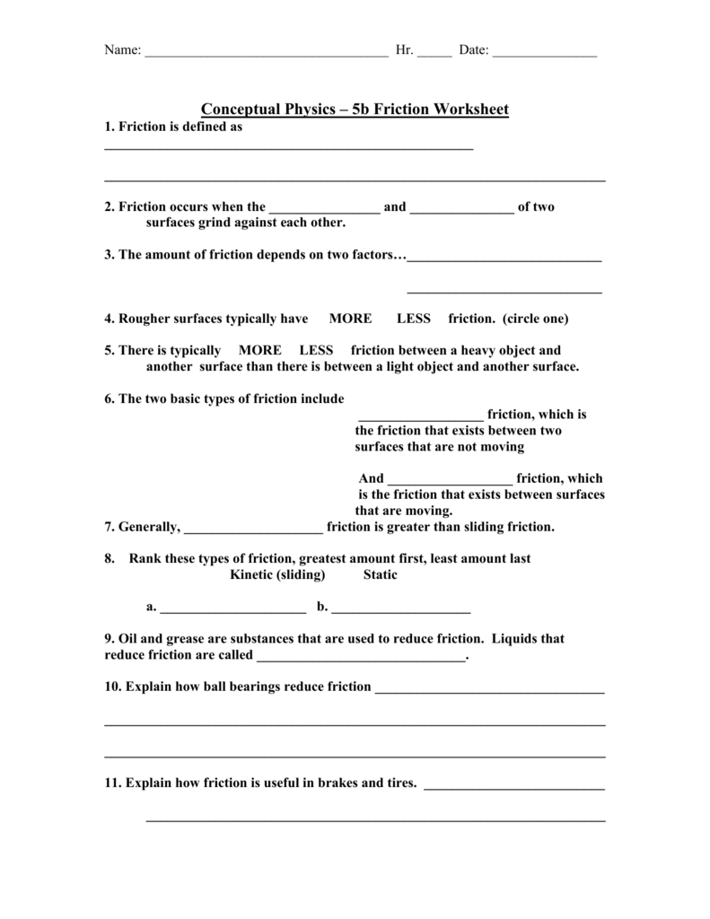 Collection of Conceptual Physics Worksheet Answers  Sharebrowse