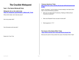 The Crucible WebQuest Assignment Sheet