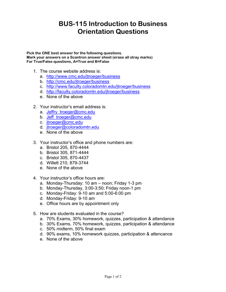 BUS-115 Introduction to Business Questions