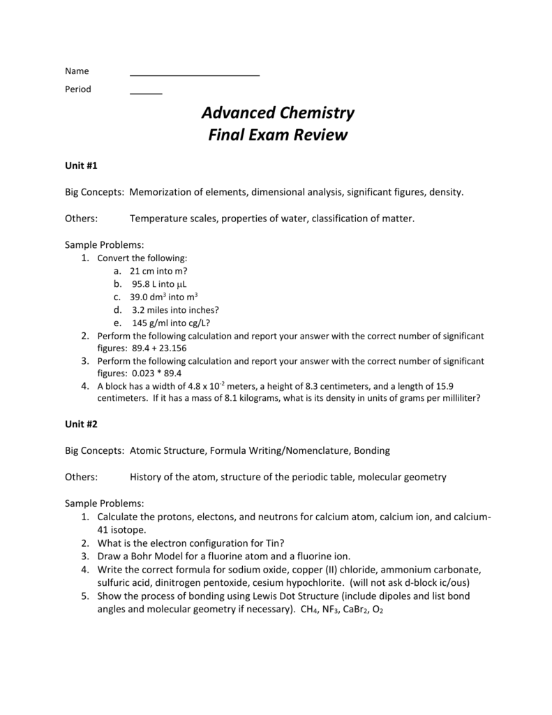 Name Period Advanced Chemistry Final Exam Review Unit #1 Big