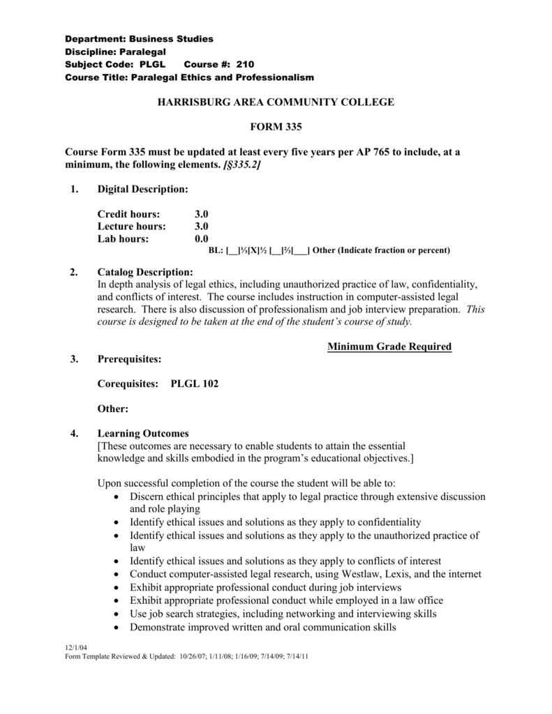 Form 335 Harrisburg Area Community College